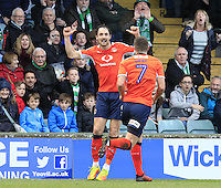 Danny Hylton of Luton Town celebrates his second goal during the Sky Bet League 2 match between Yeovil Town and Luton Town at Huish Park, Yeovil, England on 4 March 2017. Photo by Liam Smith / PRiME Media Images.