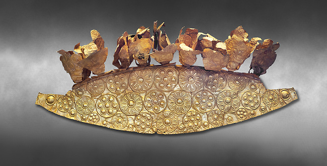 Mycenaean Gold diadem from Grave III, 'Grave of a Women', Grave Circle A, Myenae, Greece. National Archaeological Museum Athens. Grey art Background <br /> <br /> An impressive Mycenaean gold diadem with repousse rosettes and thin sheets applied to the top. .Cat No 1. 16th century BC.<br /> <br /> Shaft Grave III, the so-called 'Grave of the Women,' contained three female and two infant interments. The women were literally covered in gold jewelry and wore massive gold diadems, while the infants were overlaid with gold foil.