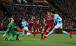 Loris Karius of Liverpool saves a shot from Leroy Sane of Manchester City during the Champions League Quarter Final 1st Leg, match at Anfield Stadium, Liverpool. Picture date: 4th April 2018. Picture credit should read: Simon Bellis/Sportimage