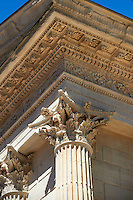 Corinthian Capitals of the Maison Carrée, a ancient Roman temple built around 4-7 AD and dedicated to Julius Caesar, the best preserved example of a Roman temple,  Nimes, France