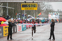 Geoffrey Kamworor of Kenya wins the IAAF World Half Marathon Championships 2016 in Cardiff, Wales on 26 March 2016. Photo by Mark  Hawkins / PRiME Media Images.