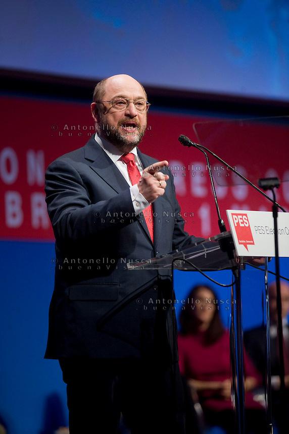 Il Presidente del Parlamento Europeo Martin Schulz durante il suo discorso al congresso del Partito Socialista Europeo a Roma.<br /> European Parliament President Martin Schulz delivers a speech to delegates during a meeting at the PES (Party of European Socialists) electoral congress in Rome.