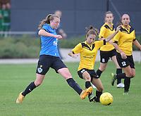 20161029 - ZWEVEZELE , BELGIUM : Zwevezele's Tess Veegaete (r) and Club Brugge's Silke Choteau (L)  pictured during a soccer match between the women teams of KSK Zwevezele and Club Brugge  , during the seventh matchday in the 2016-2017  Tweede klasse - Second Division season, Saturday 29 October 2016 . PHOTO SPORTPIX.BE | DIRK VUYLSTEKE