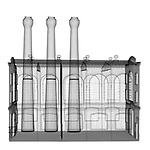 X-ray image of a tall factory (black on white) by Jim Wehtje, specialist in x-ray art and design images.