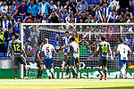 (L-R) Real Sociedad's William Jose, Geronimo Rulli, Mikel Merino, Mikel Oyarzabal and RCD Espanyol's Naldo Gomes, Lei Wu and Borja Iglesias during La Liga match. May, 18th,2019. (ALTERPHOTOS/Alconada)