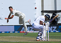 Trent Boult bowls a bouncer during day three of the International Test Cricket match between the New Zealand Black Caps and India at the Basin Reserve in Wellington, New Zealand on Sunday, 23 February 2020. Photo: Dave Lintott / lintottphoto.co.nz