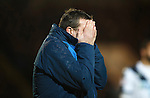 St Johnstone v Dundee....27.11.15  SPFL  McDiarmid Park, Perth<br /> Tommy Wright reacts to a missed chance<br /> Picture by Graeme Hart.<br /> Copyright Perthshire Picture Agency<br /> Tel: 01738 623350  Mobile: 07990 594431