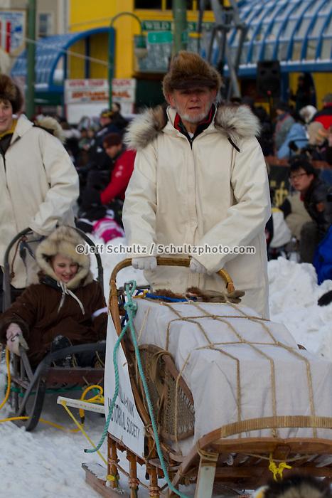 2010 Iditarod Ceremonial Start in Anchorage Alaska honorary Musher Dan Seavey