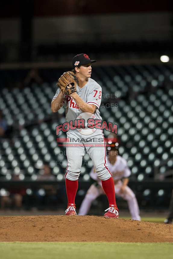 Scottsdale Scorpions relief pitcher Seth McGarry (72), of the Philadelphia Phillies organization, gets ready to deliver a pitch during an Arizona Fall League game against the Mesa Solar Sox at Sloan Park on October 10, 2018 in Mesa, Arizona. Scottsdale defeated Mesa 10-3. (Zachary Lucy/Four Seam Images)