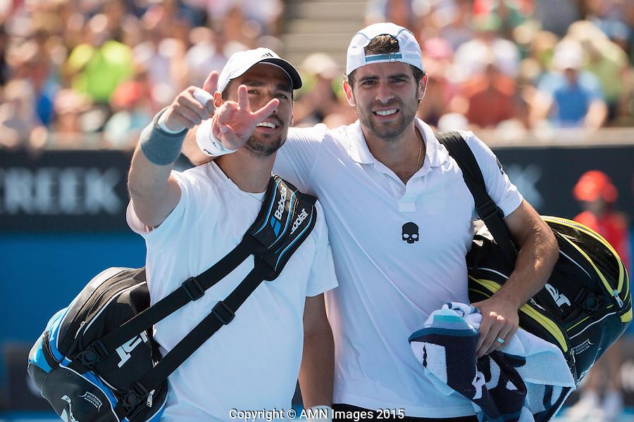 Fabio Fognini (ITA) and Simone Bolelli (ITA)<br /> <br /> Tennis - Australian Open 2015 - Grand Slam -  Melbourne Park - Melbourne - Victoria - Australia  - 23 January 2015. <br /> &copy; AMN IMAGES