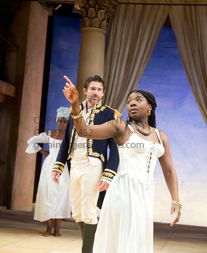 Antony and Cleopatra by William Shakespeare, A Royal Shakespeare Company Production directed by Tarell Alvin McCraney. With  Sarah Niles as Charmian, Joaquina Kalukango as Cleopatra, Jonathan Cake as Antony . Opens at The Swan Theatre, Stratford Upon Avon   on 13/11/13  pic Geraint Lewis