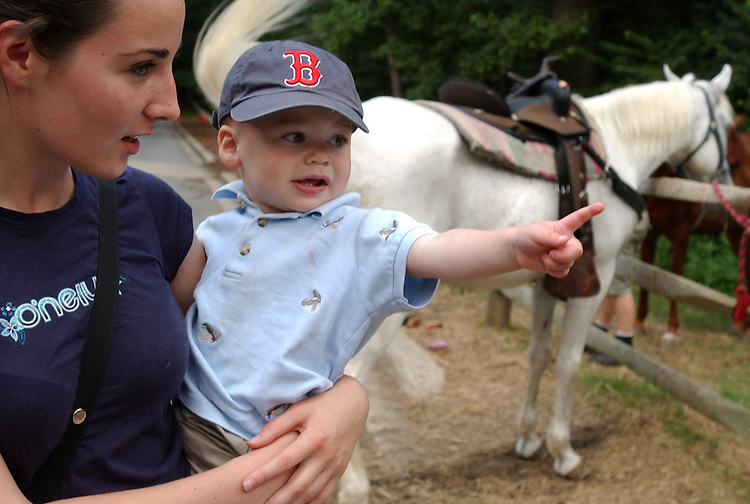 Aiden Kohn Murphy, 18 months, points at a horse in the arms of au pair Annelise Jackson, at Rock Creek Park Horse Center.