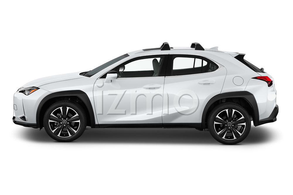 Car Driver side profile view of a 2019 Lexus UX 200 5 Door SUV Side View