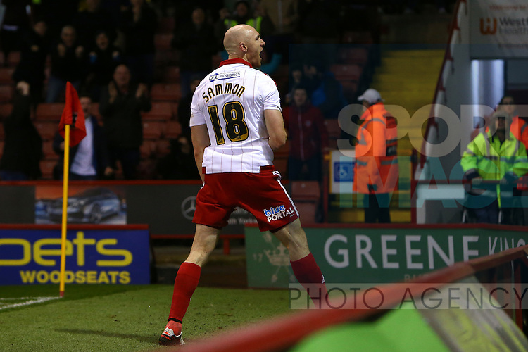 Sheffield United's Conor Sammon celebrates scoring his sides second goal - Sheffield United vs Bradford City - Skybet League One - Bramall Lane - Sheffield - 28/12/2015 Pic Philip Oldham/SportImage