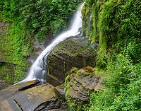 Lucifer falls flows powerfully after prolonged summer rains, Robert Treman State Park, Tompkins County, New Tork