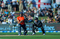 England's Dawid Malan plays a reverse sweep during the 4th Twenty20 International cricket match between NZ Black Caps and England at McLean Park in Napier, New Zealand on Friday, 8 November 2019. Photo: Dave Lintott / lintottphoto.co.nz