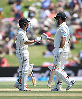 23rd November 2019; Mt Maunganui, New Zealand;  BJ Watling and Colin de Grandhomme on Day 3, 1st Test match between New Zealand versus England. International Cricket at Bay Oval, Mt Maunganui, New Zealand.  - Editorial Use