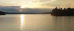 The Lake of Two Rivers at dawn panoramic scenery. Algonquin Provincial Park, Ontario, Canada.