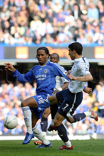 11 March 2007: Chelsea striker Didier Drogba competes with Paul Stalteri for the ball during the FA Cup Quarter-Final game between Chelsea and Tottenham Hotspur, played at Stamford Bridge. The game ended 3-3. Photo: Actionplus....070311 football soccer player spurs