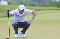 Ross Fisher (ENG) lines up his putt on the 6th green during Friday's Round 2 of the 117th U.S. Open Championship 2017 held at Erin Hills, Erin, Wisconsin, USA. 16th June 2017.<br /> Picture: Eoin Clarke | Golffile<br /> <br /> <br /> All photos usage must carry mandatory copyright credit (&copy; Golffile | Eoin Clarke)