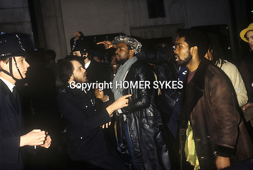 NEW CROSS FIRE, SOUTH LONDON 1981 PEOPLE DEMONSTRATE ABOUT THE DEATH OF 13 PEOPLE, POLICE BLAMED, MARCH TO WESTEND, 1981 <br />