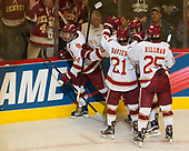 Jarid Lukosevicius (DU - 14), Troy Terry (DU - 19), Michael Davies (DU - 21), Dylan Gambrell (DU - 7) Blake Hillman (DU - 25) - The University of Denver Pioneers defeated the University of Minnesota Duluth Bulldogs 3-2 to win the national championship on Saturday, April 8, 2017, at the United Center in Chicago, Illinois.
