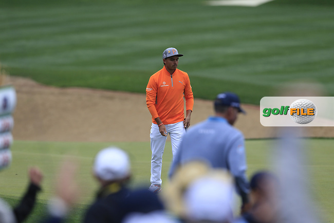 Rickie Fowler (USA) on the 3rd during the final round of the Waste Management Phoenix Open, TPC Scottsdale, Scottsdale, Arisona, USA. 03/02/2019.<br /> Picture Fran Caffrey / Golffile.ie<br /> <br /> All photo usage must carry mandatory copyright credit (© Golffile | Fran Caffrey)