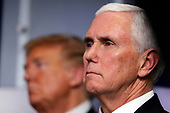 United States Vice President Mike Pence listens during a news conference at the White House in Washington D.C., U.S. on Monday, April 20, 2020. <br /> Credit: Tasos Katopodis / Pool via CNP