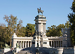 Equestrian statue and monument to King Alfonso XII, El Retiro park, Madrid, Spain,
