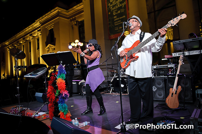 HoneyVox Band in concert during Twilight Tuesday series at Missouri History Museum in St. Louis, MO on Oct 19, 2010.