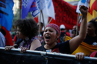 New York, USA. 1st May 2014.  A woman shouts slogans during the annual 1 May day rally in New York.  Eduardo MunozAlvarez/VIEWpress