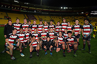 The Junior Knights team poses for a group photo after the rugby match between the Hurricanes under-18s and Crusaders Knights at Westpac Stadium in Wellington, New Zealand on Saturday, 15 July 2017. Photo: Dave Lintott / lintottphoto.co.nz