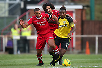 Lewwis Spence of Hornchurch and Kadell Daniel of Margate during Hornchurch vs Margate, BetVictor League Premier Division Football at Hornchurch Stadium on 13th August 2019