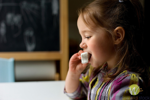Reese Kirk, 4 years old with marshmallow. Delayed gratification study. Stanford Marshmallow Study.