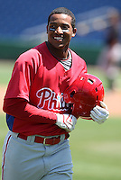 March 30, 2010:  Outfielder Domingo Santana of the Philadelphia Phillies organization during Spring Training at Bright House Field in Clearwater, FL.  Photo By Mike Janes/Four Seam Images