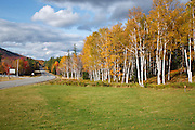 Route 16 in Pinkham Notch during the autumn months in Green's Grant, New Hampshire USA.