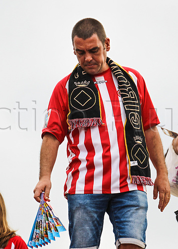 19th August 2017, Montilivi, Girona, Spain; La Liga football, Girona versus Atletico Madrid; A Girona Fan with team colours