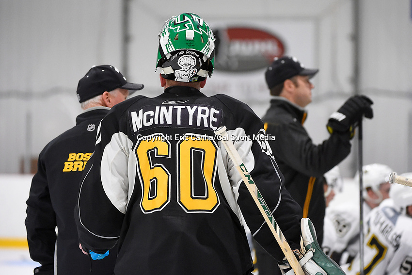 July 15, 2015 - Wilmington, Massachusetts, U.S. - Goalie Zane McIntyre (60) takes part in the Boston Bruins development camp held at Ristuccia Arena in Wilmington Massachusetts. Eric Canha/CSM