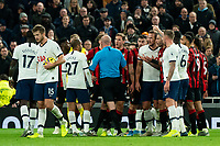 Bournemouth's Dan Gosling shouting at Referee Lee Mason whilst players await his decision on the pitch<br /> <br /> Photographer Stephanie Meek/CameraSport<br /> <br /> The Premier League - Tottenham Hotspur v Bournemouth - Saturday 30th November 2019 - Tottenham Hotspur Stadium - London<br /> <br /> World Copyright © 2019 CameraSport. All rights reserved. 43 Linden Ave. Countesthorpe. Leicester. England. LE8 5PG - Tel: +44 (0) 116 277 4147 - admin@camerasport.com - www.camerasport.com