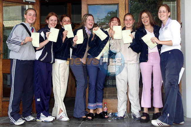 Karen Dunne, Newfield, Lorraine Kelly, Newfield, Edel Finnegan, Westcourt, Michelle McCluskey, Pearse Park, Michelle Nugent, Newfield, Ciara McBride, Newfield, Jane Everitt, Yellowbatter and Emma Everitt, Newfield after recieving thier Leaving Cert results from Greenhills..Picture Paul Mohan Newsfile