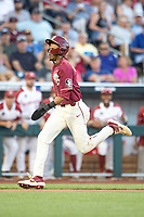 Florida State Seminoles outfielder JC Flowers (8) heads home during Game 2 of the NCAA College World Series against the Arkansas Razorbacks on June 15, 2019 at TD Ameritrade Park in Omaha, Nebraska. Florida State defeated Arkansas 1-0. (Andrew Woolley/Four Seam Images)