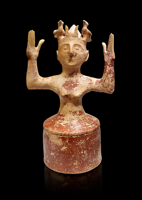 Minoan Postpalatial terracotta  goddess statue with raised arms,  Karphi Sanctuary 1200-1100 BC, Heraklion Archaeological Museum, black background. <br /> <br /> The Goddesses are crowned with symbols of earth and sky in the shapes of snakes and birds, describing attributes of the goddess as protector of nature.
