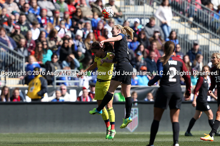 10 April 2016: Samantha Mewis (USA) (3) heads the ball over Isabella Echeverri (COL) (5). The United States Women's National Team played the Colombia Women's National Team at Talen Energy Stadium in Chester, Pennsylvania in an women's international friendly soccer game. The U.S. won the match 3-0.