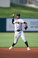 Jupiter Hammerheads shortstop Adeiny Hechavarria (6) throws to first base during a game against the Lakeland Flying Tigers on April 17, 2017 at Joker Marchant Stadium in Lakeland, Florida.  Lakeland defeated Jupiter 5-1.  (Mike Janes/Four Seam Images)