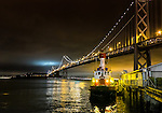 SF Bay bridge and fire boat, May 22, 2015
