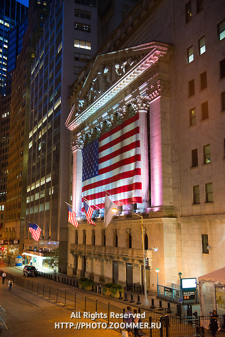 New York Stock Exchange On Wall Street At Night