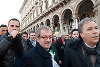 Roberto Maroni. La Lega Nord in manifestazione contro il governo Monti. Milano, 22 gennaio 2012.....Roberto Maroni. Northern League Party demonstrates against Mario Monti Government. Milan, January 22, 2012