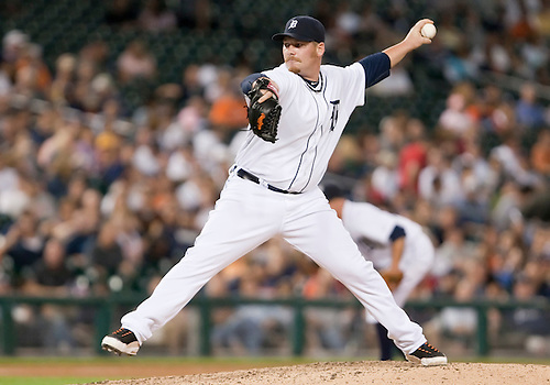 June 15, 2010: Detroit Tigers relief pitcher Phil Coke (#40) delivers pitch in game action between the Washington Nationals and the Detroit Tigers at Comerica Park in Detroit, Michigan.  The Tigers defeated the Nationals 7-4..