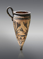 Minoan pconical rhython with lilies decoration made in Minoan Crete, Akrotiri, Thira (Santorini) National Archaeological Museum Athens. 17th-16th cent BC.