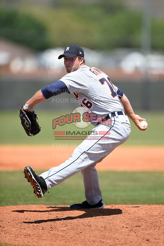 Detroit Tigers pitcher Buck Farmer (76) during a minor league spring training game against the Houston Astros on March 21, 2014 at Osceola County Complex in Kissimmee, Florida.  (Mike Janes/Four Seam Images)